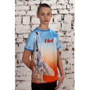 Футболка голубая с оранжевым с символикой Стрижи