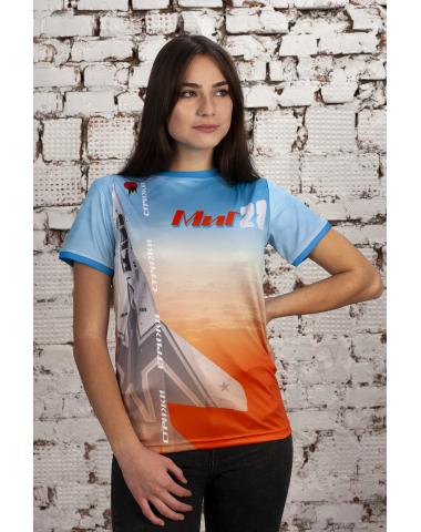 Футболка голубая с оранжевым МИГ-29 Стрижи