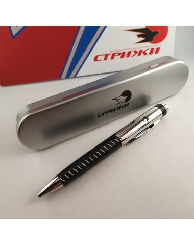 """Ручка - флешка черная с логотипом """"Стрижи"""" 32 Gb"""